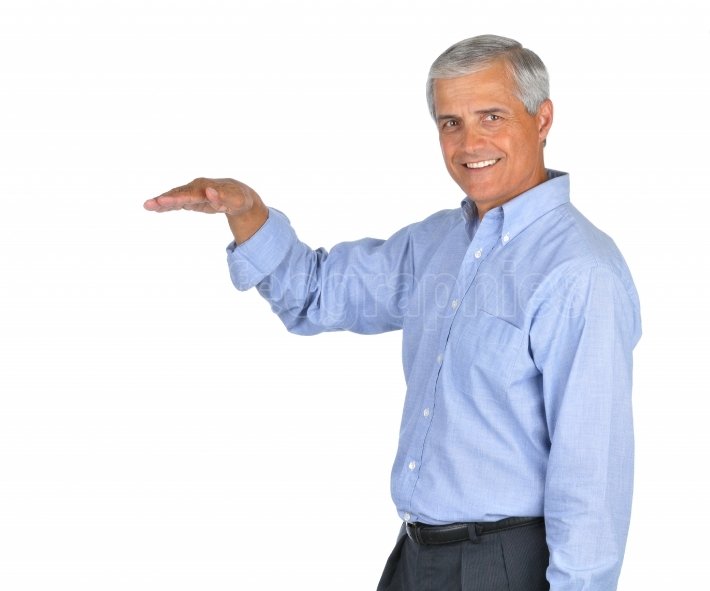 Businessman with arm extended