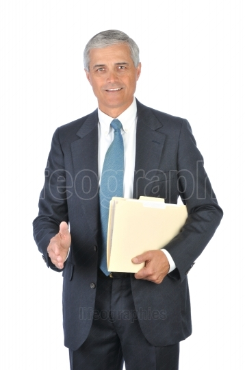 Businessman with file folder hand extended to shake