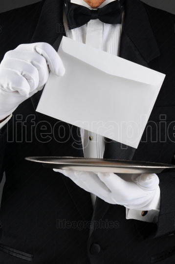 Butler With Tray and Letter