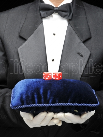 Butler with Velvet Pillow and Red Dice