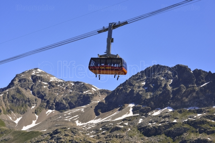 Cable car with Upper Engadin valley near Sankt Moritz