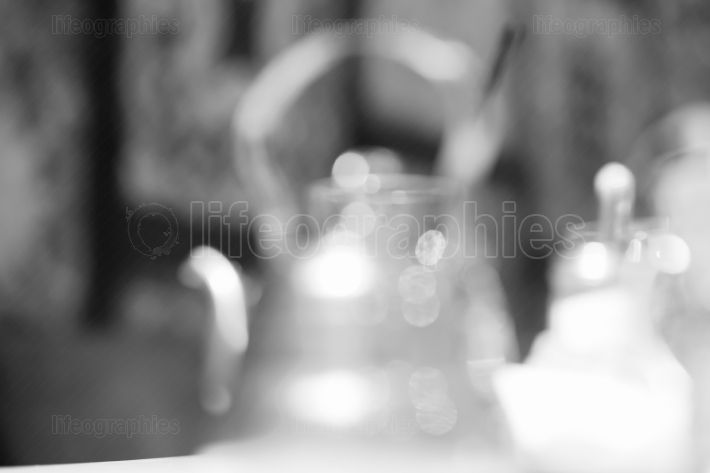 Cafe teapot bokeh background