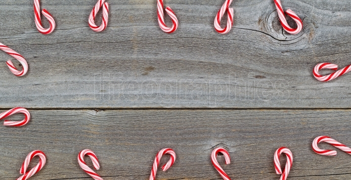 Candy Cane Border on rustic Wood