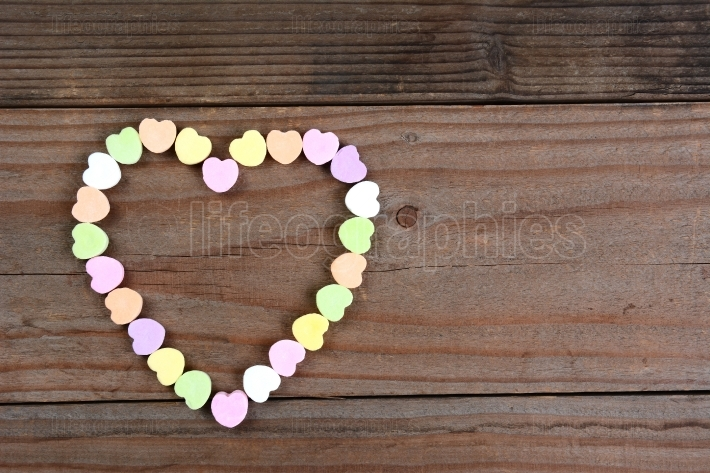 Candy Hearts Arranged in Heart Shape
