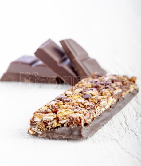 Cereal bar with chocolate