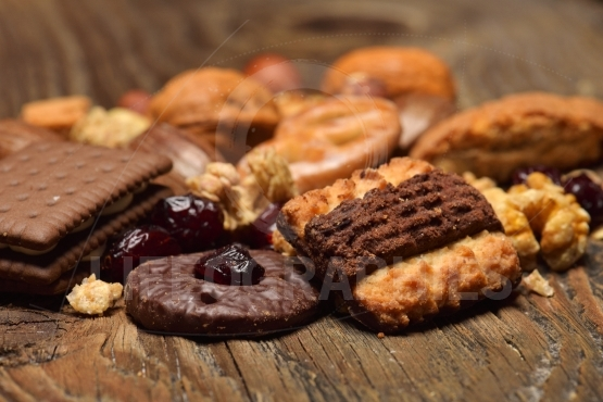 Cereal biscuits with chocolate and dried fruits