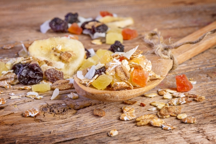 Cereals muesli food in wooden spoon