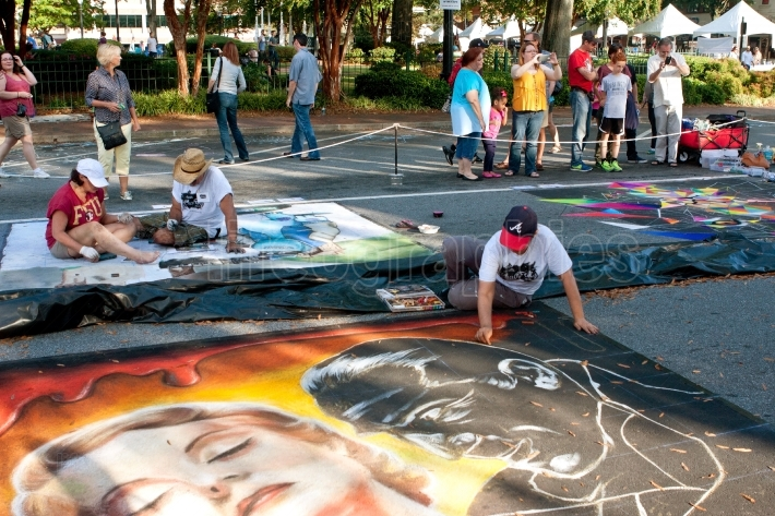 Chalk Artists Sketch Halloween Scenes On Street