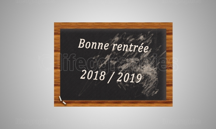 Chalkboard with a text on the autumn of 2019 on a white backgrou