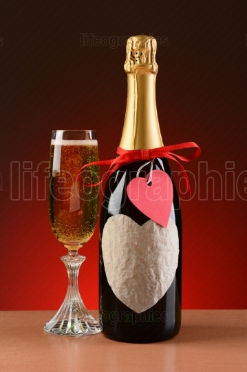 Champagne Bottle Decorated For Valentines Day