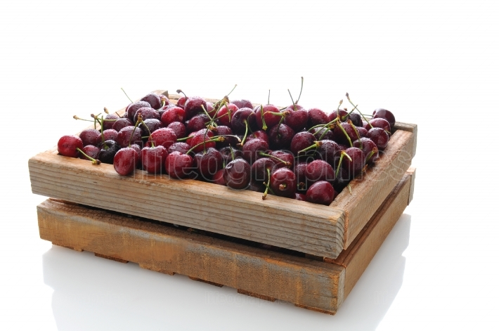 Cherries in Wooden Crate