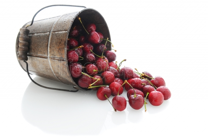 Cherries Spilling Out of Bucket