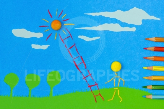 Children's play:climbing to the sun