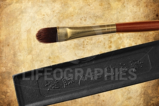 Chinese paintbrushes ink stone