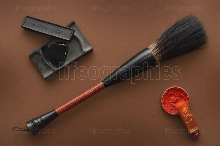 Chinese tools for painting with paintbrushes ink stone and stamp