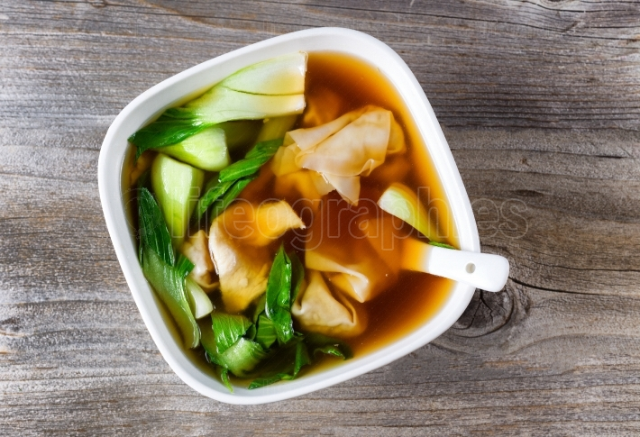 Chinese wanton and vegetable soup ready to eat