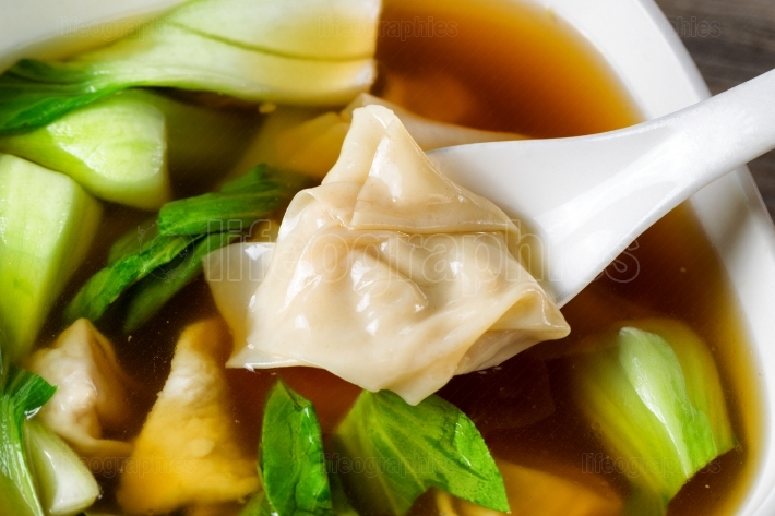 Chinese wanton soup with bok choy ready to eat