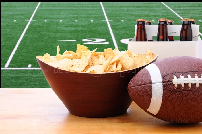 Chips, football and Six Pack of Beer and TV