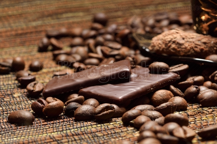 Chocolate and coffee beans
