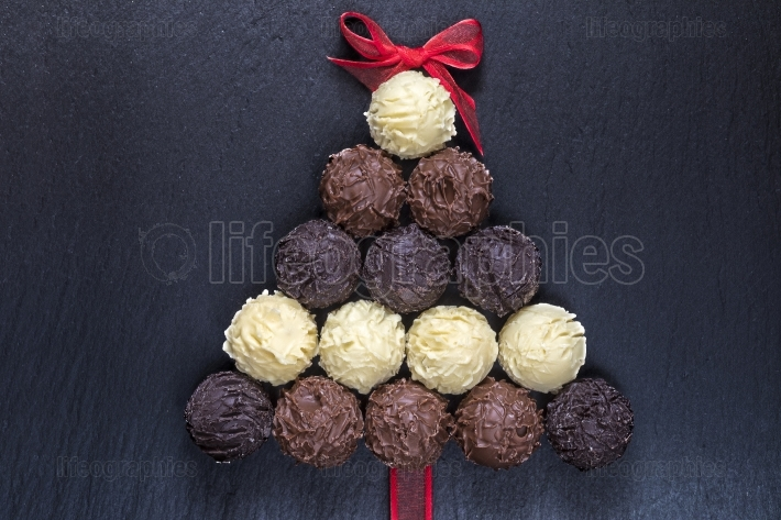 Chocolate Christmas tree on black