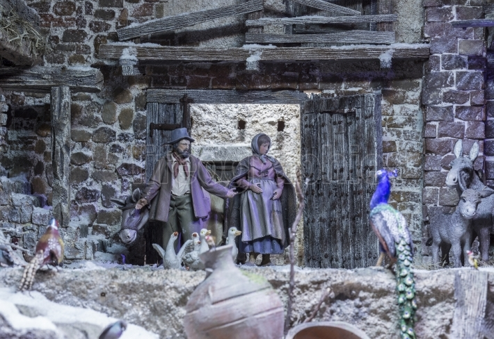 Christmas Nativity scene  Holy Family find the barn