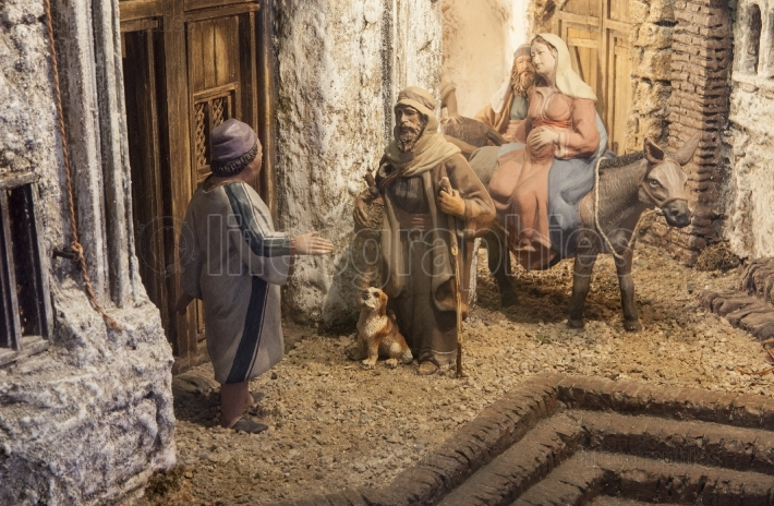 Christmas Nativity scene  Mary and Joseph s search for a place t