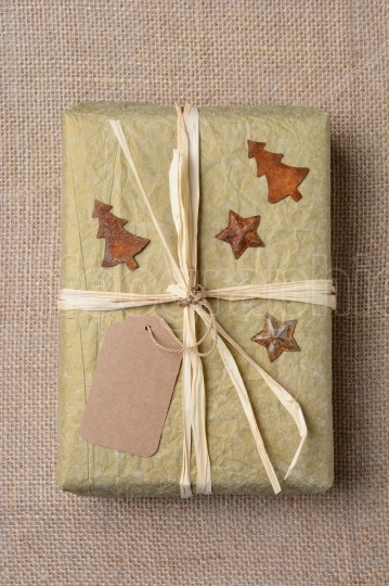 Christmas Present on Burlap