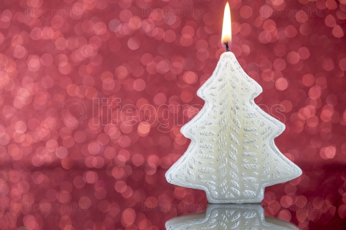 Christmas tree candle light with reflection on red blurred bokeh