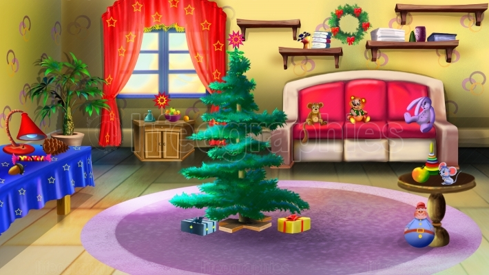 Christmas Tree in Baby Room Interior