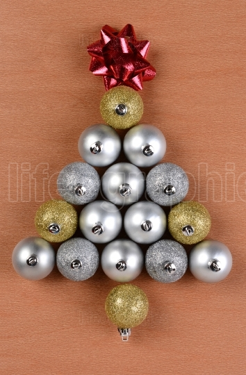 Christmas Tree Shape Made From Ornaments