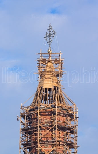 Church steeple in scaffolding