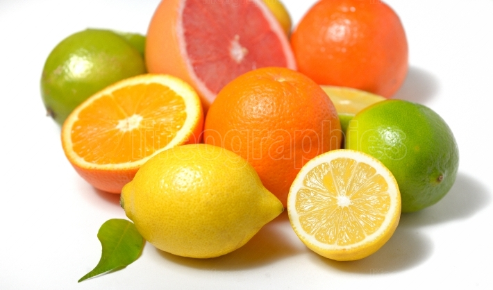 Citrus fruit with leaves
