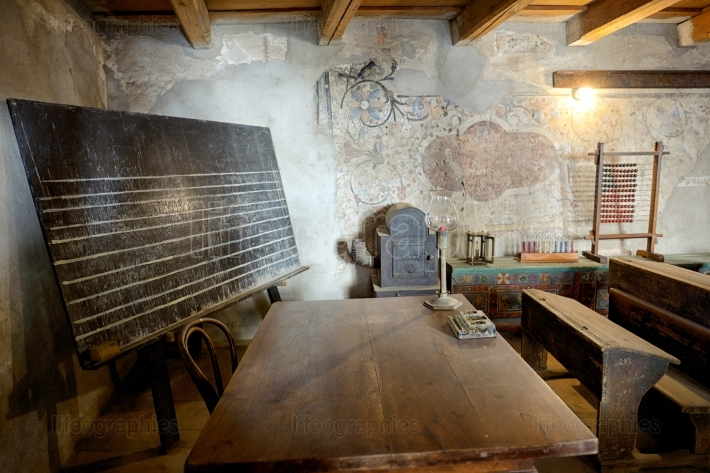 Classroom in the Saxon Fortified church of Prejmer, Brasov, Roma