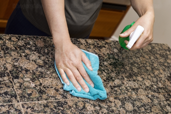 Cleaning Stone Counter Top in Kitchen