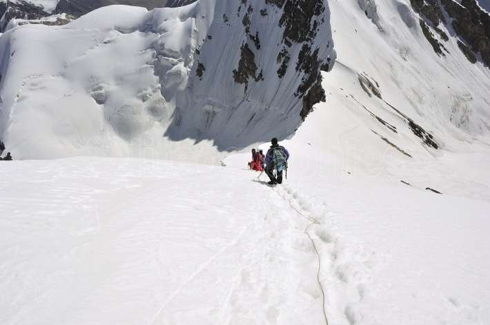 Climbers on mountains from karakoram range from Shimshal valley