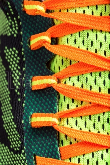 Close up colored laces shoes