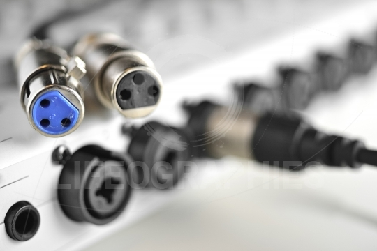 Close up of a XLR audio digital cables