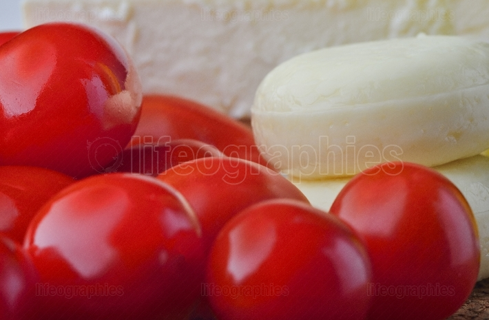 Close up of cheese and tomato