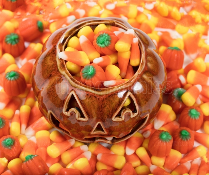 Close up of Halloween Candy Treats in Pumpkin