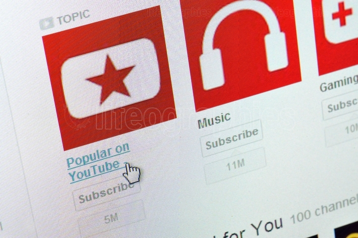 Close up of youtube icon