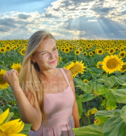 Close up portrait of a beautiful young girl in pink dress on a background field of sunflowers