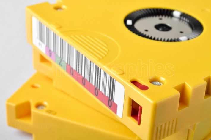 Close up with magnetic tape data storage. LTO-10
