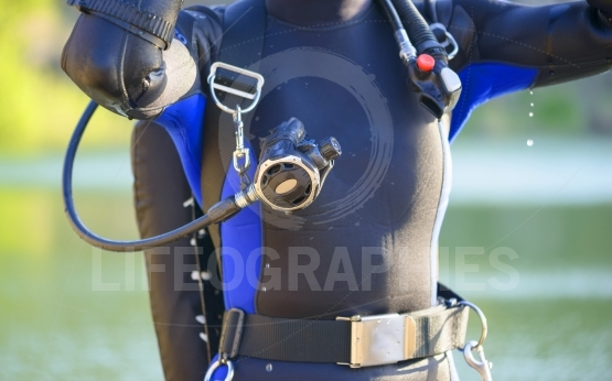 Closeup of a divers's gear