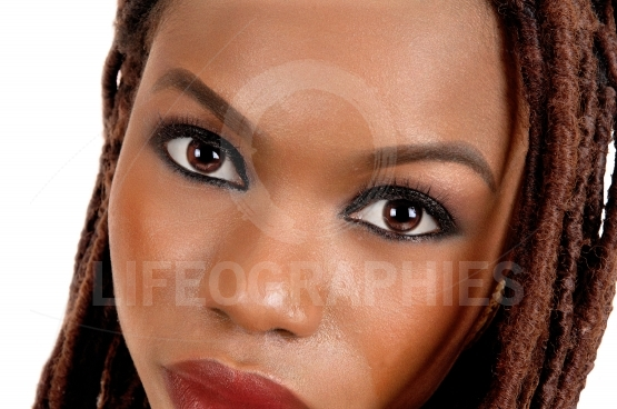 Closeup of african woman's eye's and face.