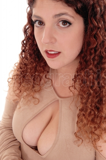 Closeup of busty woman