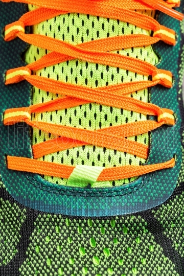 Close-up of colored running shoe laces
