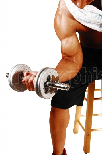 Closeup of dumbbell lifting
