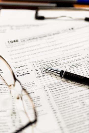 Closeup of US tax forms 1040