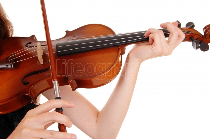 Closeup of violin playing