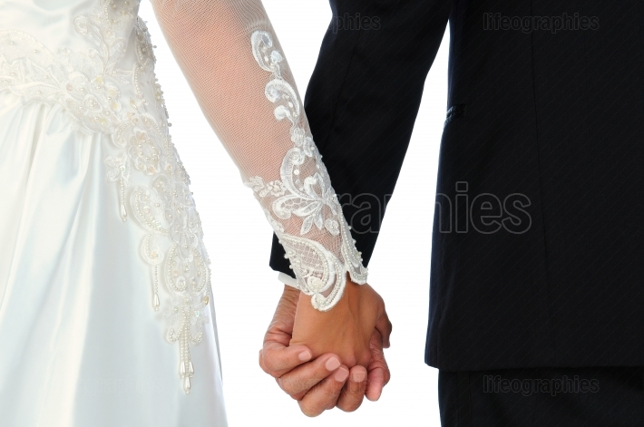 Closeup Wedding Couple Holding Hands